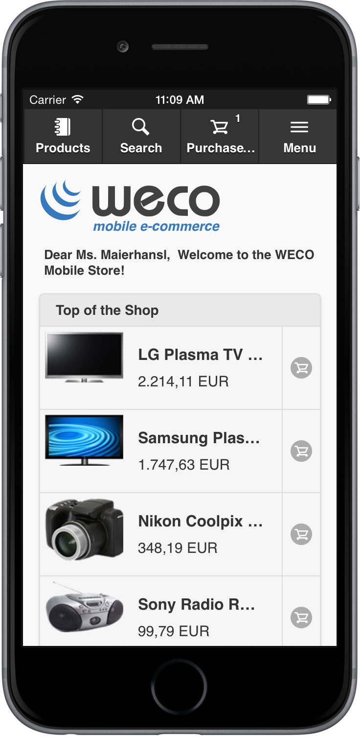 E commerce for sap erp by weco mobile e commerce app for E commerce mobili